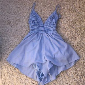blue fashion nova romper